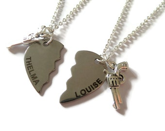 thelma and louise, thelma louise necklace, partners crime, friend necklaces, hearts friends, best friends gift, fan gift, gun necklace