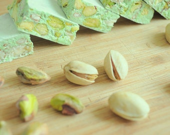 Pistachio Nougat, 8oz made to order Italian candy, Torronne, Edible gift, gluten free healthy snack of honey and nuts