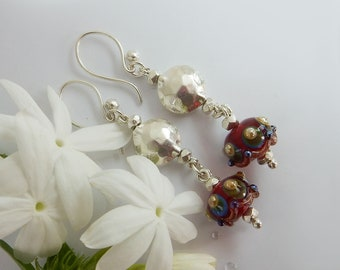Handmade  Earrings with Lampwork and Sterling Silver beads  - Lampwork Glass Earrings- Handmade Jewelry - Women's earrings