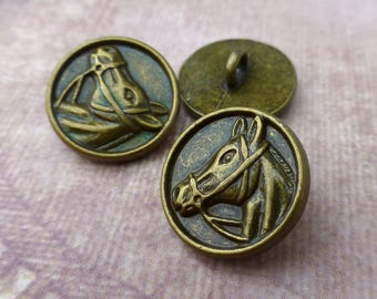 5 pcs round Metal Shank Buttons Sewing Button with Horse Head