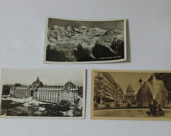 three black and white French antique postcards of Paris and Le Mont Blanc , French vintage postcards, French postcards. Paris postcards.