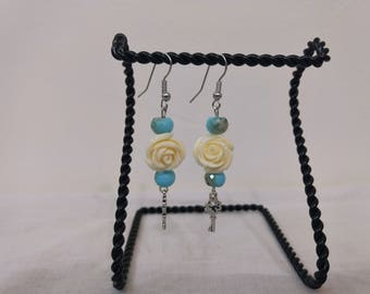White Stone Rose, Blue Glass Beads and Silver Key Earrings - Key Jewelry - Floral Earrings