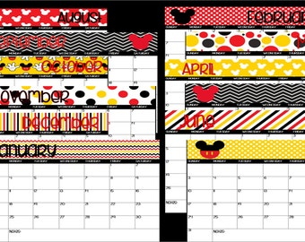2018-2019 Printable Mickey Mouse Disney Themed School Calendar-Instant Download