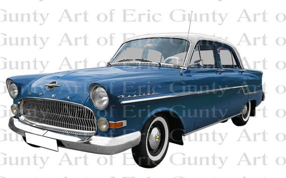 Blue 1950s Classic Car Birthday - Edible Cake and Cupcake Topper For Birthday's and Parties! - D22958