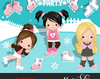 Ice Skating Clipart Winter Outdoor Graphics Ice Skating with cute characters, skates, outdoor illustrations, skate party, commercial use