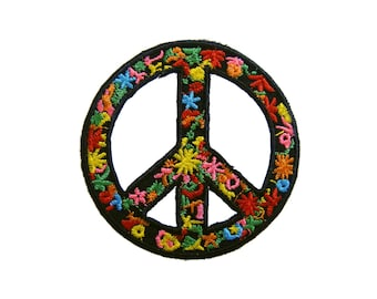 Peace Sign Iron On Patch Boho Embroidered Applique Patches For Jackets