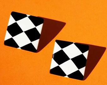 1980s Checkers Earrings
