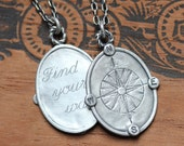 Compass necklace sterling silver, compass rose, coordinate necklace, personalized gift, graduation anniversary gift, nautical, custom made