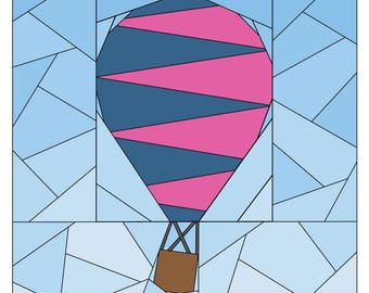 Paper Piecing Pattern - Rise Above Add-on: Circus  - Hot Air Balloon Quilt Pattern - #259 PDF
