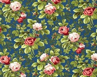 40% OFF SALE - Bloomfield in Midnight - INDIGO Rose - Verna Mosquera - Free Spirit Fabric - By the Yard