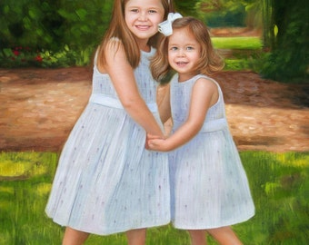 Children Custom Portrait-oil painting-custom portrait from photo-custom portrait painting-commission portrait-child portrait-Custom ETSY