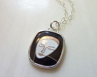 Vintage Cloisonne Cabochon Sterling Silver Necklace, Hand-Set Glass Enamel, 1950s Woman's Mask Face, Mid-Century Modern Lady Pendant