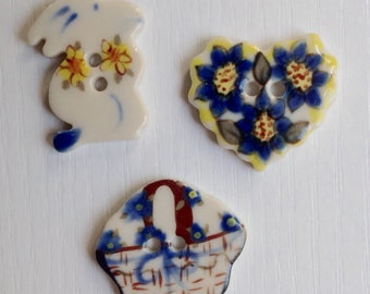 Hand-Painted Porcelain Buttons, Set of 3, Two Hole; White, Blue and Yellow; Bunny, Basket, & Heart, 1 Inch Buttons