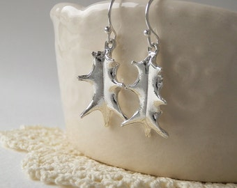 Mini Holly Leaf - Made From Real Leaves - Pure Silver Earrings, Leaf Jewelry, Christmas jewelry