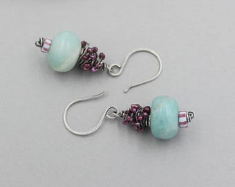 Amazonite, Tiny Pearls and Antique Trade Bead Dangle Earrings, Wire Wrap Gemstone, Sterling Silver Artisan Earrings, Blue and Cranberry Pink
