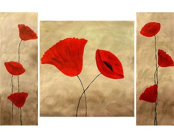 ORIGINAL  LARGE  3 Abstract  Paintings  Contemporary Art  Poppies    Love  Story   Modern Gold