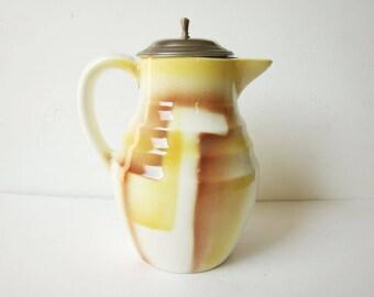 French vintage pitcher, Teapot, 1940S, Yellow, Antique home decor, Rustic kitchen, Retro, Bowl, Plate, Pichet eau, France