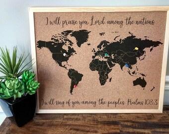 Tableau En Liège Carte Mondiale Avec Des épingles