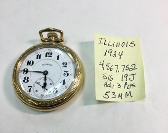 1924 Illinois Pocket Watch 19J 16S 53mm Gold Filled Case