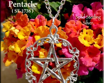 Sterling Silver Victorian Pentacle Pendant, Wiccan Filigree Pentagram Necklace, Solid .925 Silver Pagan Jewelry, Gothic Pentacle Pendant