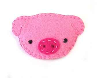 Cute pink pig brooch, baby piggie jewelry, hog pinback button, farm brooch pin, little piggy swine, pink fabric piglet, pig nose