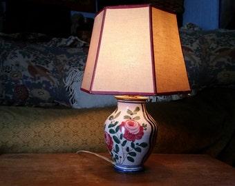 Lamp Hand Painted Italian Ceramic Vintage Majolica Roses 1950s