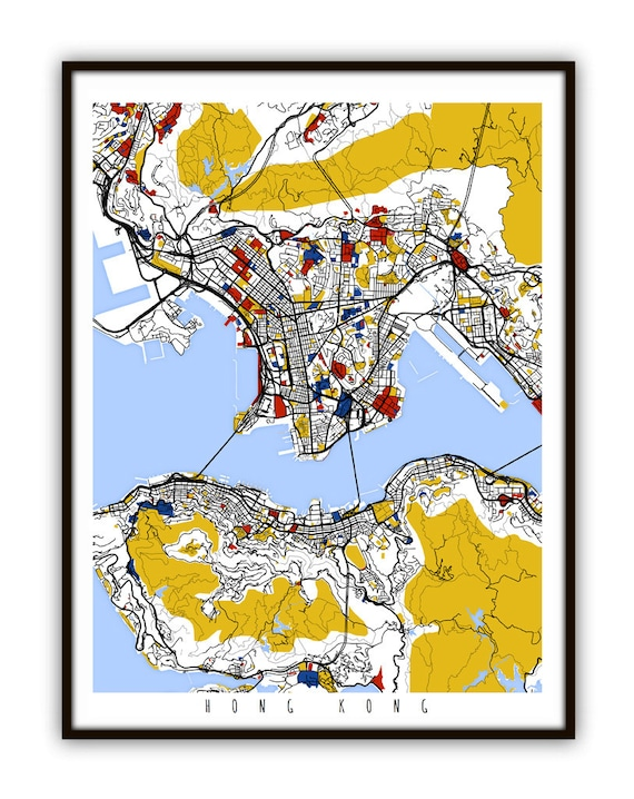 Hong kong map art hong kong wall art print poster gumiabroncs Choice Image