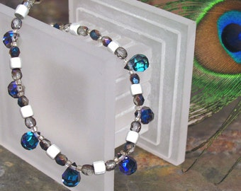 """Double-Sided Crystal Necklace ~ Cobalt Blue and Shimmering Silver ~ 16"""" Long Necklace"""
