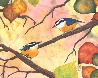 Fall Frolics - Print of nuthatches with fall leaves surrounding them
