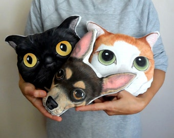 Custom Pet  Pillow Plush, Personalized  gift for pet lovers, cat pillow, dog pillow,Mothers day gift under 75