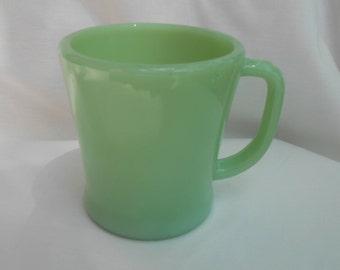 Fire King jadeite jadite d handle coffee mug cup green vintage signed old mark rare