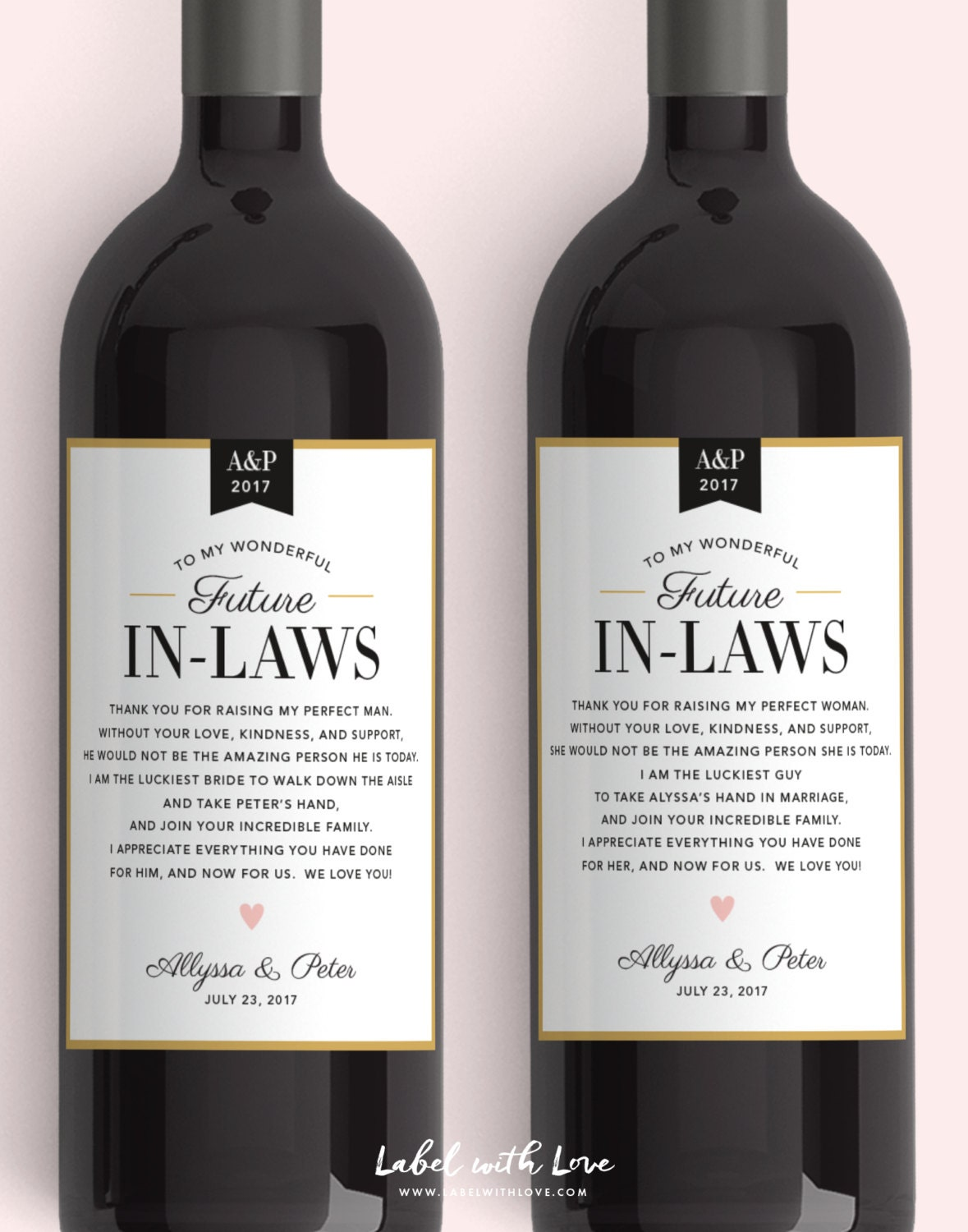 In Law Wine Labels Wedding Thank You Gift Parents of the