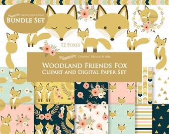 Fox Clipart, Flat Gold Fox, Woodland Friends, Fox Digital, Fox Clip Art + Digital Paper Set - Instant Download