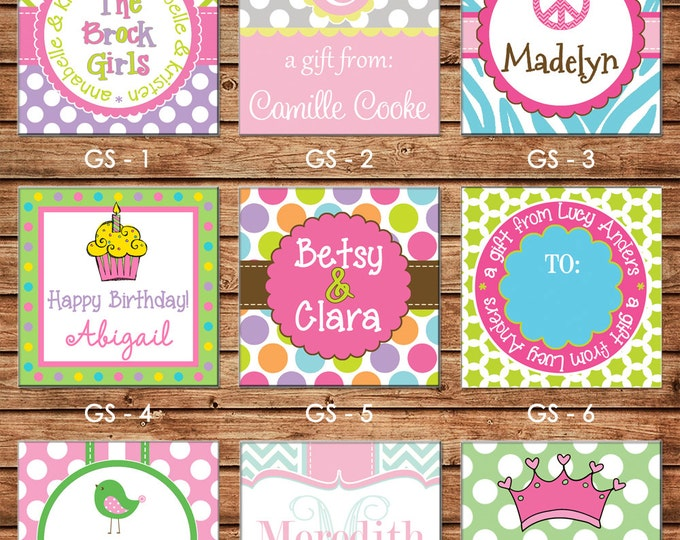 24 Square Personalized Girl Enclosure Cards or Gift Stickers - Choose ONE DESIGN