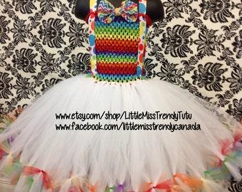 Rainbow Tutu Dress, Clown Tutu Dress, Fun Colorful Tutu Dress, Rainbow Birthday Dress, Clown Birthday Outfit, Circus Tutu Dress, Circus Tutu