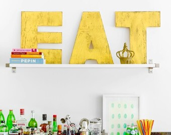 EAT Large Letter Set Letters EAT Kitchen Decor Wooden Letter Set