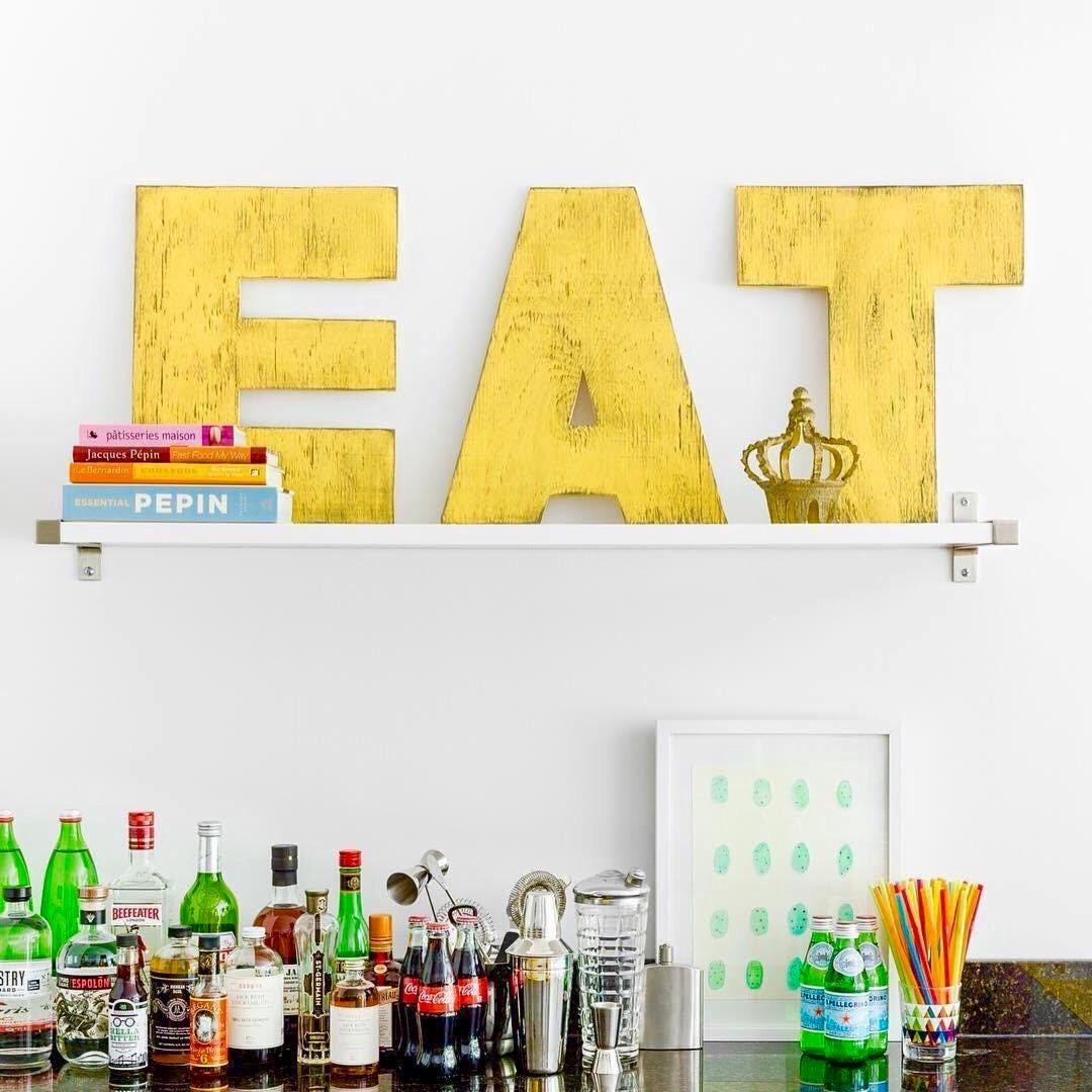 EAT Large Letter Set Letters EAT Kitchen Decor Wooden Letter