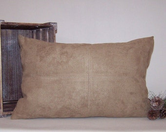 Beige Micro-Suede Lumbar Pillow Cover with Topstitching 13x20