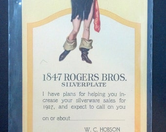 Pirate Girl Advertising Card for 1847 Rogers Bros Silverware.  Salesman's calling card, from the 1920s.