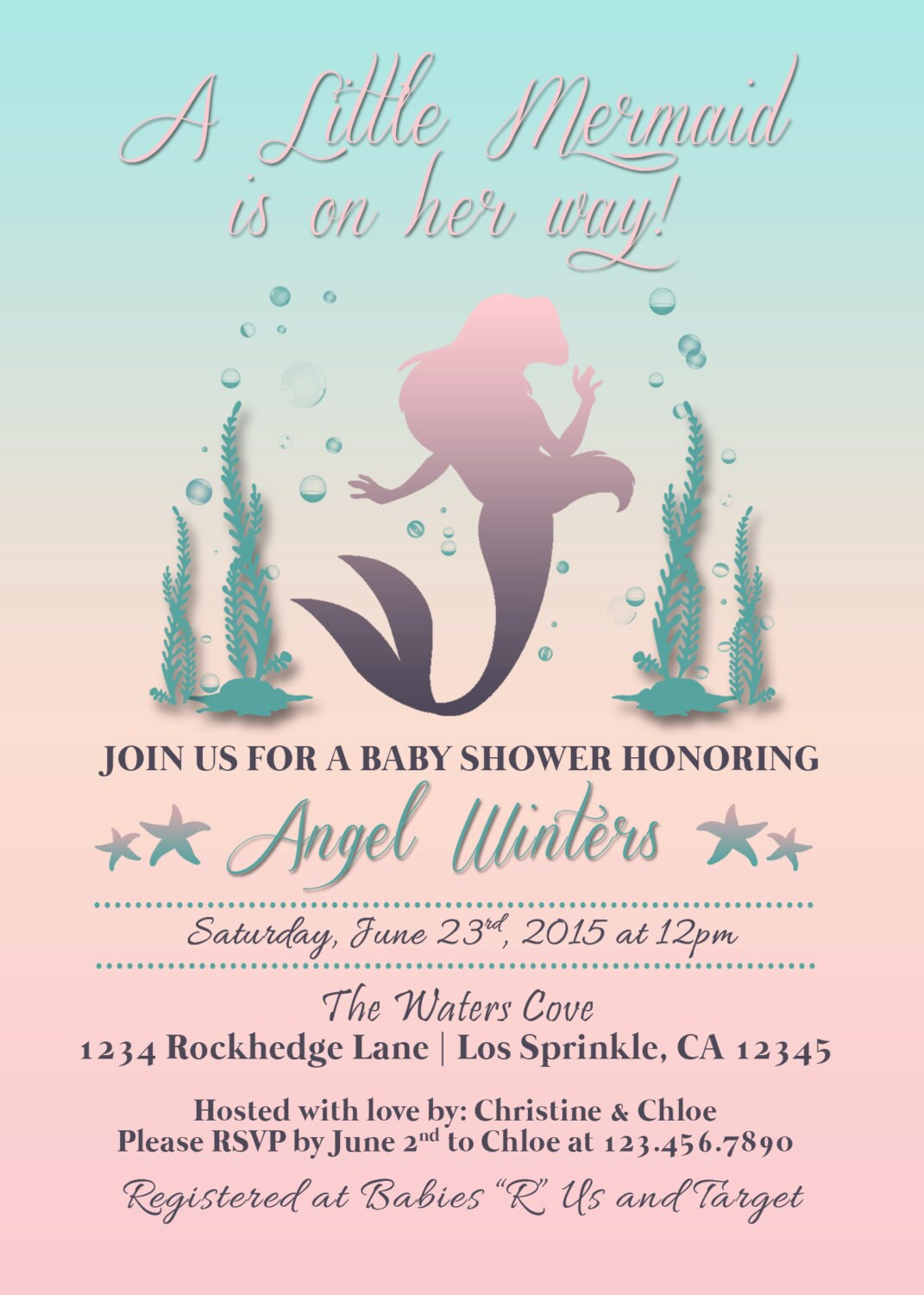 Little Mermaid Inspired baby Shower Invitation, Under the Sea ...