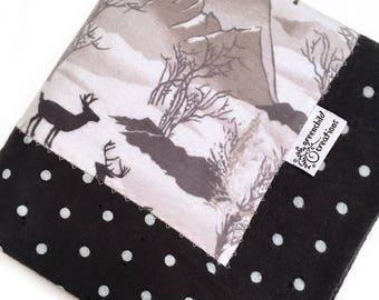 Outdoors Deer Baby Blanket, Flannel Blanket, security blanket, lovey blanket, nursing blanket, baby gift
