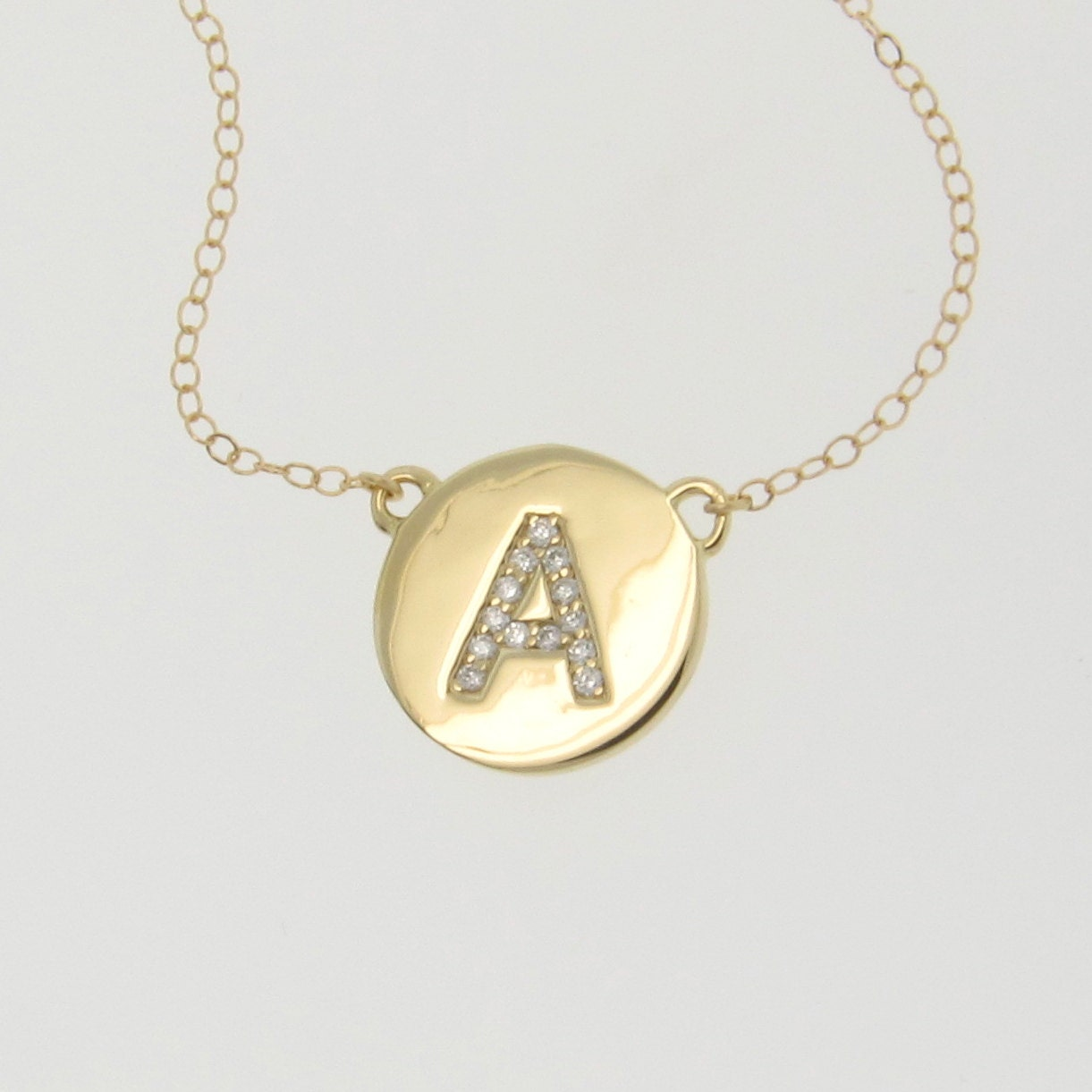 Diamond initial necklace your letter necklace 14k yellow zoom mozeypictures Choice Image