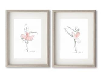 Set of 2 Prints, Ballerina Art, Pink Ballerina, Watercolor Ballet, Ballet Drawing, Pink Tutu Dancer, Ballet Art Print, Ballet Painting