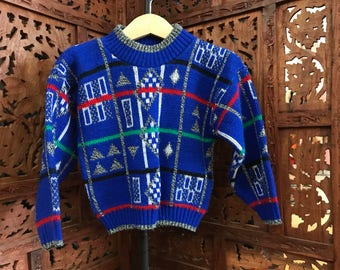 Vintage KIDS TALK Child's Royal Blue Sweater with Abstract Geometric Patterning and Stripes