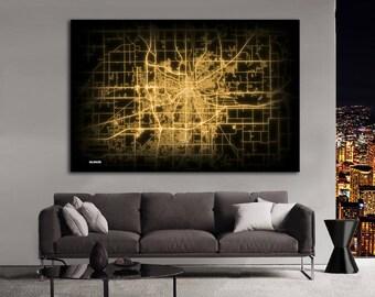 KALAMAZOO Michigan Night Lights Map Large Horizontal Wall Art Map Kalamazoo MI Modern Art Neon City Street Map of Kalamazoo NLM