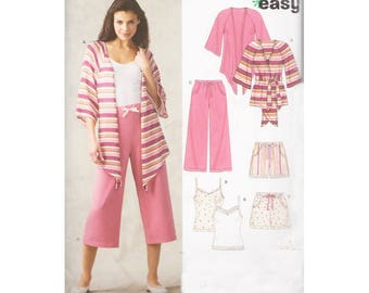 Womens Boxer Shorts, Camisole Drawstring Pants and Asymmetrical Belted Cardigan Jacket Size 6-16 New Look 6651 Uncut Easy to Sew Pattern