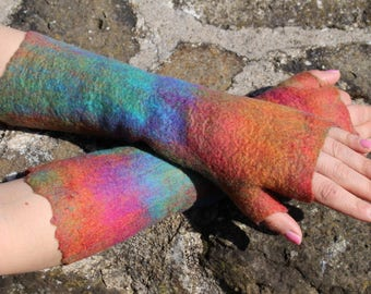 Multicolor long arm warmers with one finger,  cold weather felted wool arm sleeves for women, fingerless gloves, wristwarmers