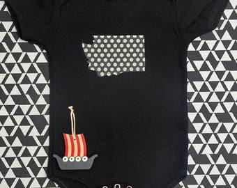 washington baby onesie or tee -- polka dots -- custom state -- minnesota wisconsin california texas florida new york ALL state pride