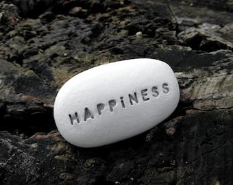 HAPPINESS - Ceramic Message Pebble