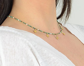 Turquoise and Pearl Eti Necklace